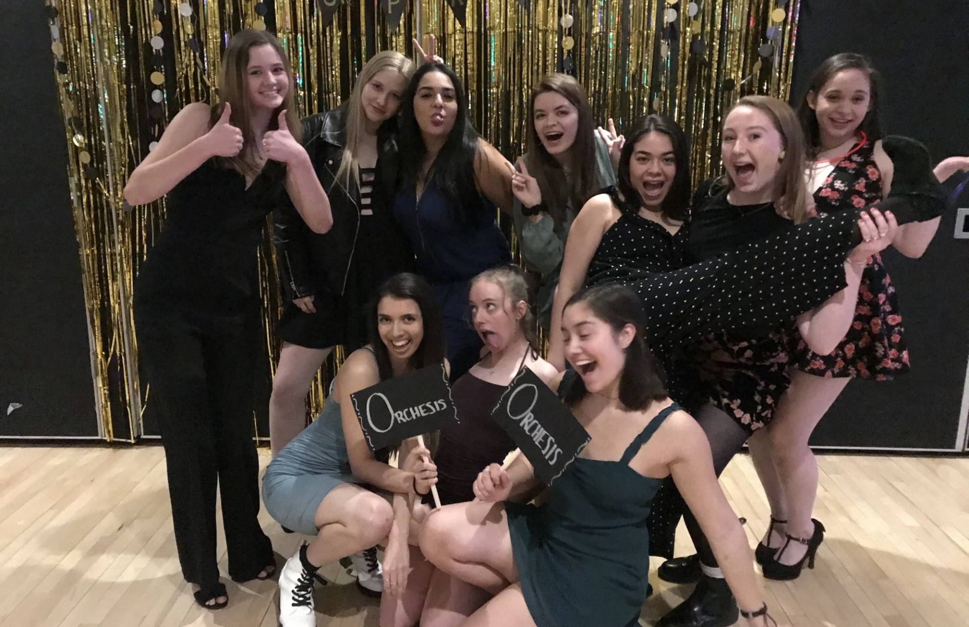 Some members of Orchesis Board 2020 at CUPAL showcase 2020
